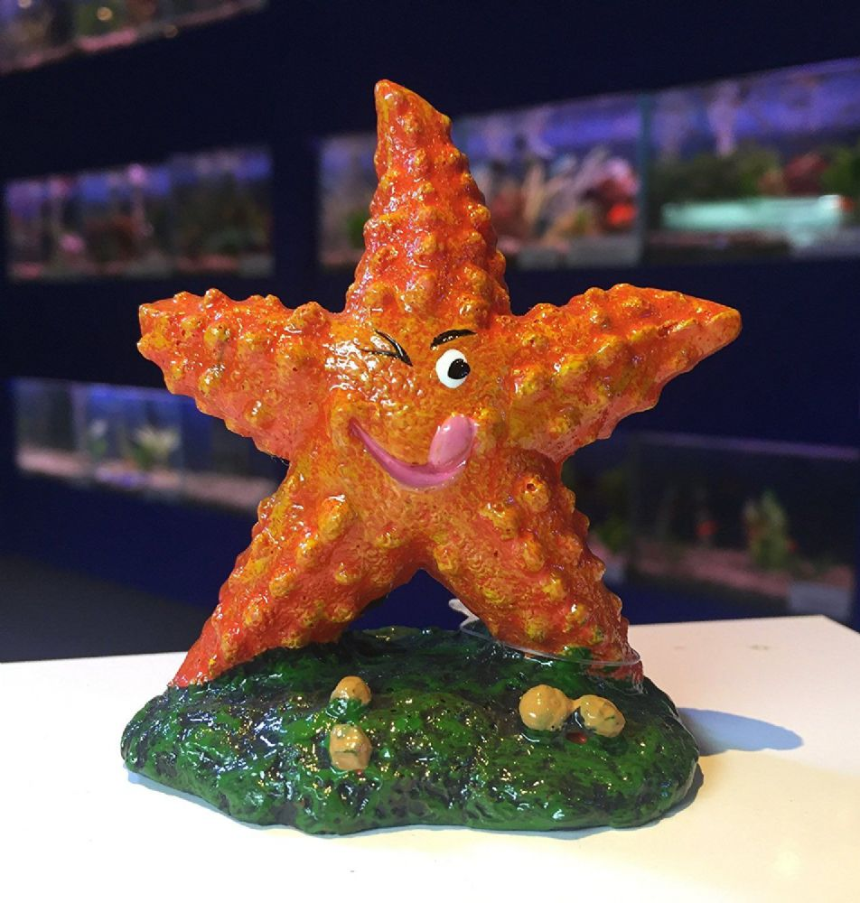 Bright Orange Winking Starfish Aquarium Fish Tank Ornament
